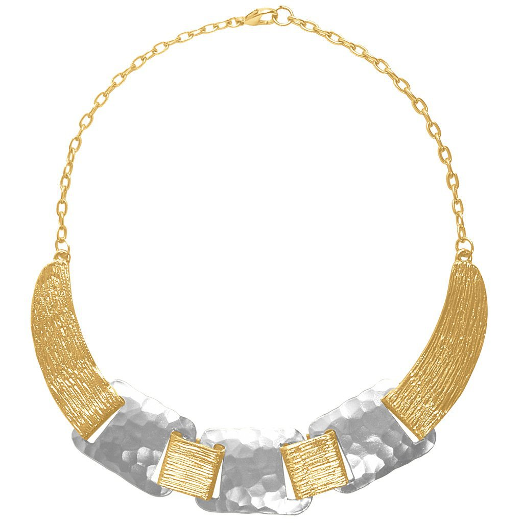 The Noelle Mixed Metals Collared Hammered Necklace