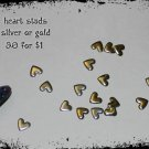 metal heart studs 10p GOLD