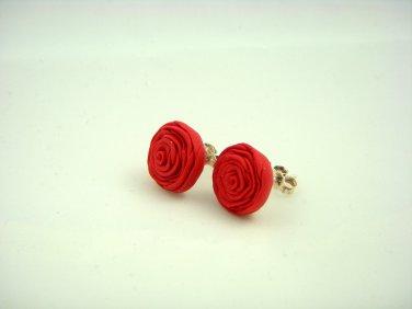 Red roses earrings