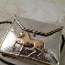 exquisite metal handbag with horse decoration and soft shoulder strap