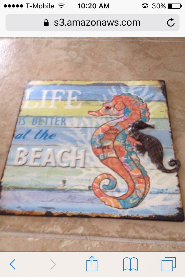Life is Better At the Beach Nautical Metal Beach Decor Art