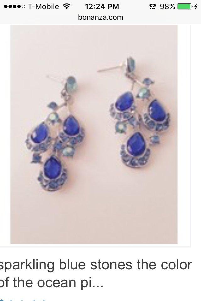 sparkling beach blue stone pierced earrings
