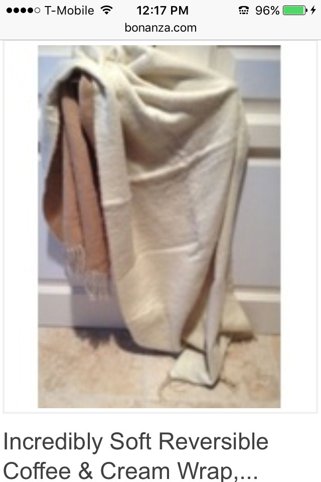 incredibly soft reversible coffee & cream wrap, shawl
