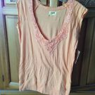 Women's Peach shirt with beautiful lace neckline Size Large by Ezekiel