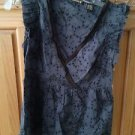 Women's grey print blouse sleeveless with belt size medium by Element