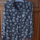 Women's Long Sleeve Black / Lavender Print Blouse Size S/Ch by Covington