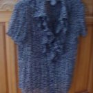 Women's Print Blouse Black & Lavender Short Sleeve Size Small/Ch by Bethany