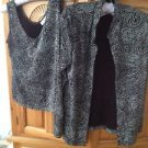 Womens 2 Piece Set Glittery Silver & Black Jacket & Tank Top Size Medium by Trad