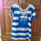Women's Blue Striped Shirt By Volcom Size Medium/Large ^