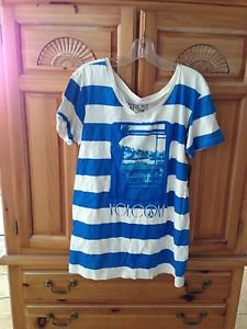 Women's Blue Striped Shirt By Volcom Size Medium/Large ^
