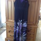 Womens Full Length Black & Purple Print Dress by Studio 1 Petite Size 10P