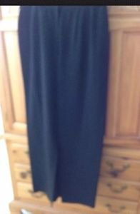 Women's Black 100% Silk Floor Length Skirt Size Large ^