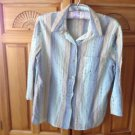 Womens Striped Short Sleeve Blouse by Alfred Dunner Size 10P