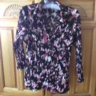 Womens Pink & Brown Print Blouse Size Large by Apt 9