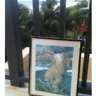 turquoise colored iridescent polar bear print framed