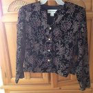 black velvet multicolored button front jacket size 8 Norton Mcnaughton
