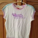 roxy girl short sleeve white & lavender top size large