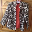 Womens Reversible Coral & Brown Print Jacket Size 8 by Peck & Peck Collection