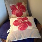 "Set of 2 soft floral pillows tan & cranberry 17"" x 17"""