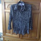 Womens Black & Grey Print Blouse Size MP by Covington Petite