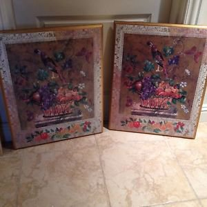 "set of 2: floral multicolored still life on wood approximately 23"" X 28"""