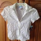 roxy girl heart print blouse size small