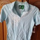 roxy girl short sleeve blue print top with small pocket on sleeve size large