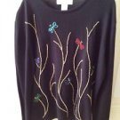 Black Beaded Multicolored Floral Knit Top Size Large By Lisa International