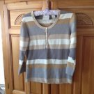 Womens Tan Striped Knit Top Size Large First Issue A Liz Claiborne Company