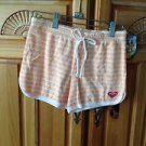 Roxy Girl Peach striped terry cloth Shorts Size medium