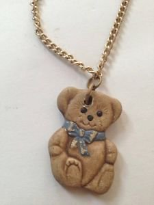teddy bear ceramic pendant on necklace