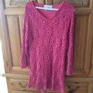 Crochet Tunic Or Dress Lined Mauve By Roamans Size Medium
