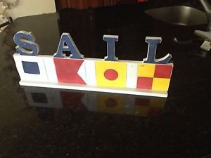 """Set of 2: Nautical Colors """"Sail"""" Sign Approx 20""""X 8"""" Free Standing or Wall"""