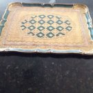 Beautiful Tray Green And Gold Tone Decorative Serving Piece