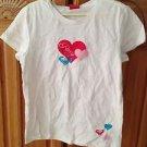roxy girl short sleeve roxy hearts top size large