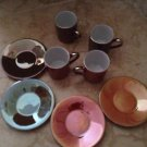 set of 4 small cups and saucers by LSA international hand painted 4 colors