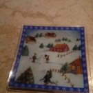 Winter Snow Scene Holiday Glass Serving Plate