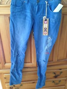 Roxy Pismo Super Skinny Fit Distressed Beach Blue Jeans Size 7 ^