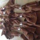 10 Chocolate Brown Cloth Napkins And 10 Clear Lucite Napkin Holders