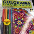 colorama adult coloring book with colored pencils & 100 designs