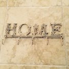 """5 Hook Brass """"HOME"""" Rack for Keys, Towels, Hats, Jewelry, Clothing ..."""