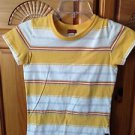 women's striped shirt crop top by hollister size medium repair tear sewn