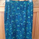 women's skirt peacock blue green design by Rave CIty size extra small