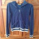 women's zippered hooded jacket blue velour design by XXI size medium