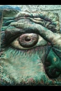 """artists original painting self portrait """"the secret inside"""" quilted wall hanging"""
