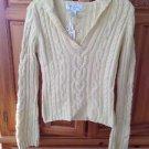 Women's Cream v neck Sweater with hood Size Medium By Aeropostale