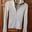 Women's Cream Zippered with floral trim Sweater Size Extra Small By Hollister
