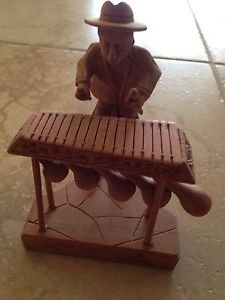 wood carving sculpture of musician 6""