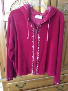 women's burgundy hooded jacket by real people size medium beautiful condition
