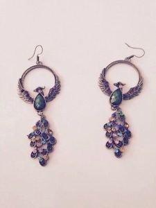 peacock multicolored dangling pierced earrings
